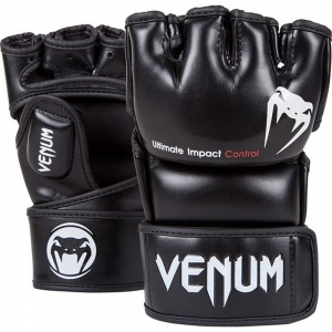 Перчатки для ММА Venum Impact-Black-Skintex Leather
